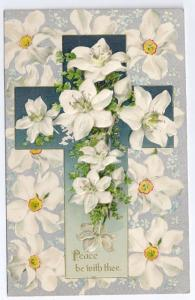 Silver Embossed Easter Postcard Narcissuss Cross ca 1910 Printed in Germany