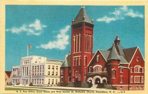 NC, Greensboro, North Carolina, Post Office, Court House, Church, Dexter Press
