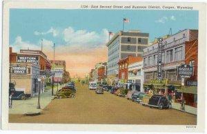 East Second Street & Business District, Casper, Wyoming, WY, 1951 Linen