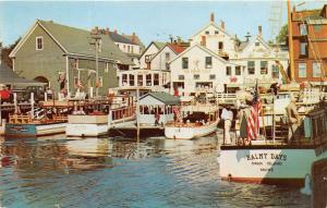 Boothbay Harbor Maine~Excursion Boats @ Docks~Smiling Cow-Merry Calf Bldgs~1957