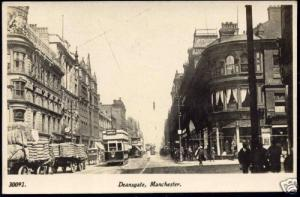 lancashire, MANCHESTER, Deansgate, TRAM 154 (1923) RPPC
