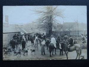 Country Life CHIPPING NORTON HUNTING SCENE / MEET - Old RP Postcard by F. Packer