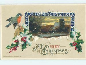 Pre-Linen christmas JOHN WINSCH - CUTE BIRD WITH WINTER SCENE hr2721