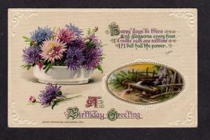 Vintage John Winsch 1914 Birthday Greeting Poem Postcard Purple Flowers  PC