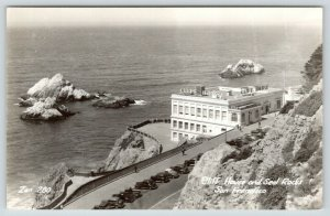 San Francisco CA~Cliff House Restaurant~Seal Rocks~Men in Road~1930s Cars~RPPC