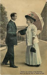 Romance~Elegant Victorian Lady Meets Lover Along Broadway~Parasol~ThEL 1908 PC