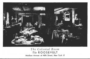 New York City The Roosevelt Hotel Colonial Room 1952