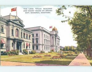 Unused Divided-Back LAND TITLES BUILDING WITH COURTHOUSE Winnipeg MB d2744