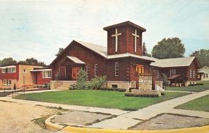 Roscommon Michigan~St Michael's Church~Sign in Yard~Daily Mass~1971 Postcard