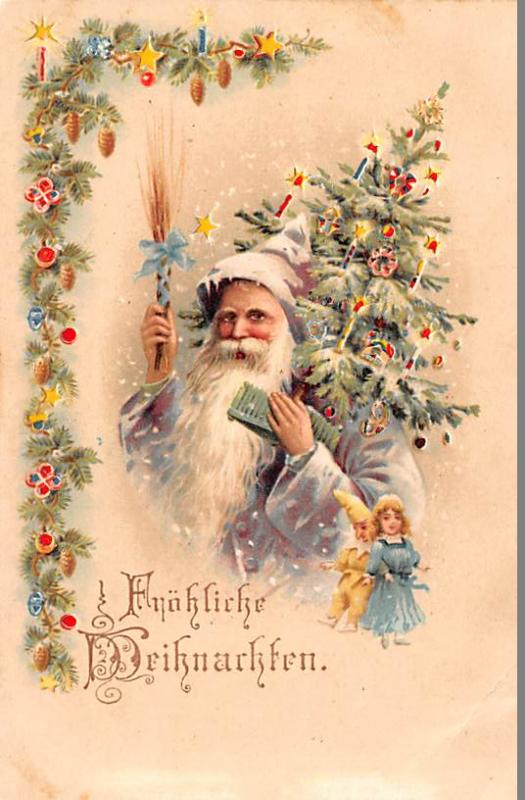 Santa Claus Hold To Light Post Card Old Vintage Antique Frohliche Weihnachten...