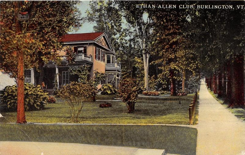 Burlington Vermont~Ethan Allen Club House~Looking Down Sidewalk~c1910 Postcard