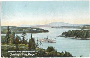 Greetings from Maine, Penobscot River near Winterport, ME, 1905 UNDivided Back