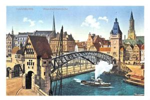 Hamburg Wandrahmsbruecke Blick auf Dovenfleet und Messberg Bridge River Boat