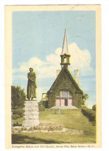 Evangeline Statue and Old Church, Grand Pre, Nova Scotia, Canada, PU-1950