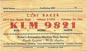 Vintage QSL Postcard   KLM 9821   Columbus, Ohio   Clay Baker   -T-
