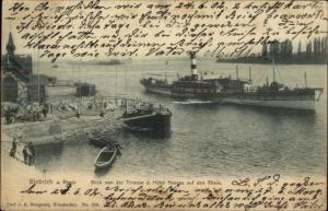 Biebrich a Rhein Germany Steamship Harborc1900 Postcard