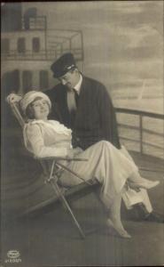 Studio Props Steamship Deck Romance Beautiful Woman in Chair c1910 RPPC