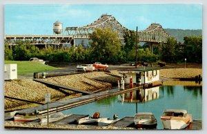Winona MN~Mississippi River Bridge~Waterfront Marina~Water Tower~1950s Cars