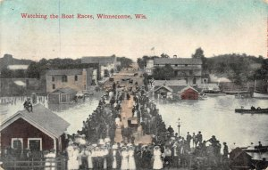 LP53  Winneconne Wisconsin Vintage Postcard Boat Races