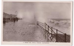 Sussex; A Rough Sea, Royal Parade, Eastbourne RP PPC, c 1910's, Unposted