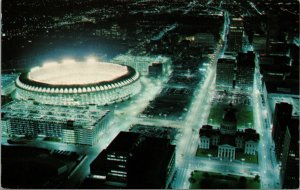 Postcard MO Missouri St Louis Night View from Gateway Arch Stadium Unposted
