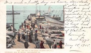 ATLANTIC CITY NEW JERSEY THE PIER AT THE INLET~SAILBOATS POSTCARD 1905