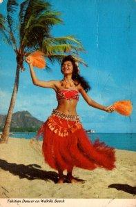 Hawaii Tahitian Dancer On Waikiki Beach 1973