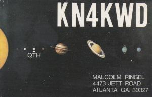 QSL Radio postcard , Atlanta , Georgia , 50-60s : Solar System