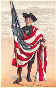 Flag Carring Man Our Country Forever Signed Postcard
