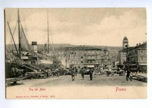 147101 Croatia Rijeka Fiume pier Vintage undivided postcard