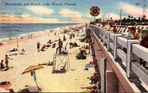 Florida Lake Worth Boardwalk and Beach 1957
