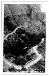 RPPC Apache Trail, Fish Creek Canyon, AZ Real Photo Postcard *5A