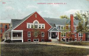 Elmwood Rhode Island~Gorham's Casino~Men on Porch-Front Yard~1909 Postcard