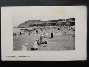 Wales ABERYSTWYTH The Beach - Animated Beach Scene c1919 Old Postcard