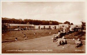 Barking Park Ilford Essex Swimming Pool Unused Real Photo Postcard G65