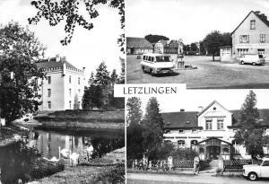Letzlingen Blick zum Krankenhaus Marktplatz Kindergarden Auto Vintage Cars
