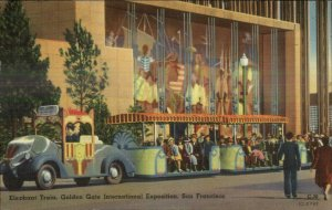 Golden Gate San Francisco Elephant Train Linen Used Expo Cancel Postcard
