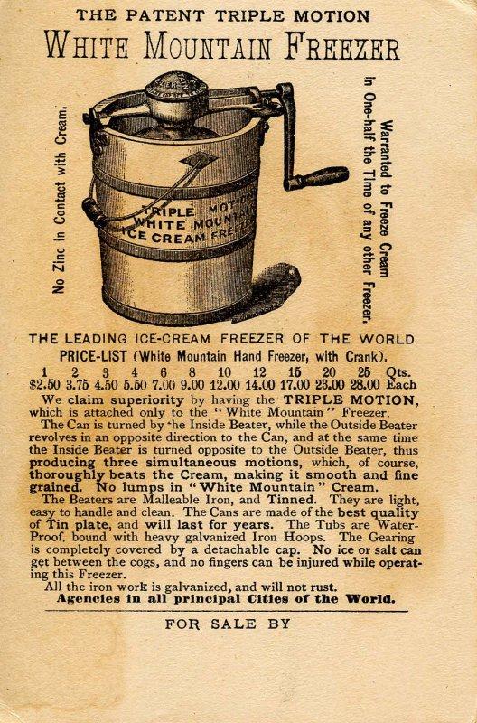 Advertising Trade Card-   White Mountain Ice Cream Freezer (5 X 3.25)