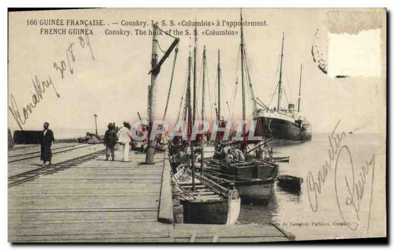 Old Postcard French Guinea Conakry The hulk of the S S Columbia