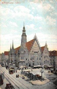 Poland Breslau Rathaus Town Hall Street Horse Carriage Rides Postcard