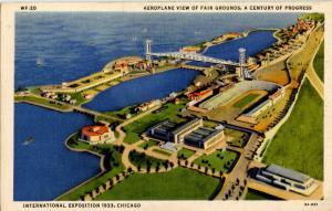 IL - Chicago. 1933 World's Fair-Century of Progress. Aeroplane View of Grounds