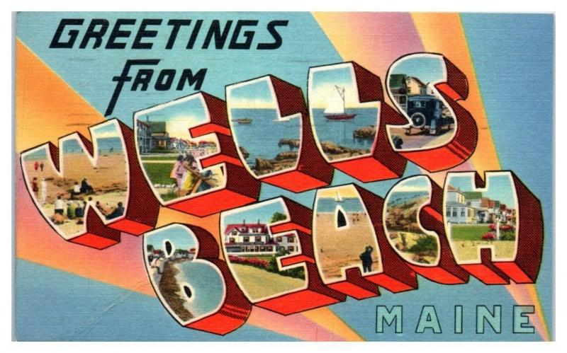 Greetings from Wells Beach, Maine LARGE LETTER Postcard