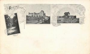 Rockland ME~Art Nouveau Postcard~Coast~Road Thru Woods~Lighthouse~Resort c1906