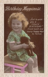 Stuffed Childrens Antique Toy Real Photo Birthday Old Postcard
