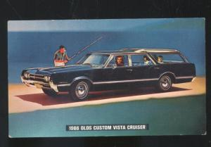 1966 OLDSMOBILE CUSTOM VISTA CRUISER STATION WAGON ADVERTISING POSTCARD OLDS