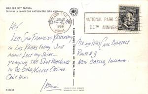 Boulder City Nevada~Birdseye View~Highway Businesses~Homes~Lake~1966 Postcard