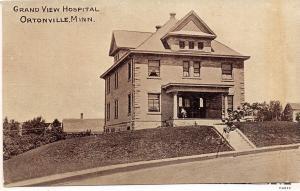 D74/ Ortonville Minnesota Mn Postcard c1910 Grand View Hospital Building
