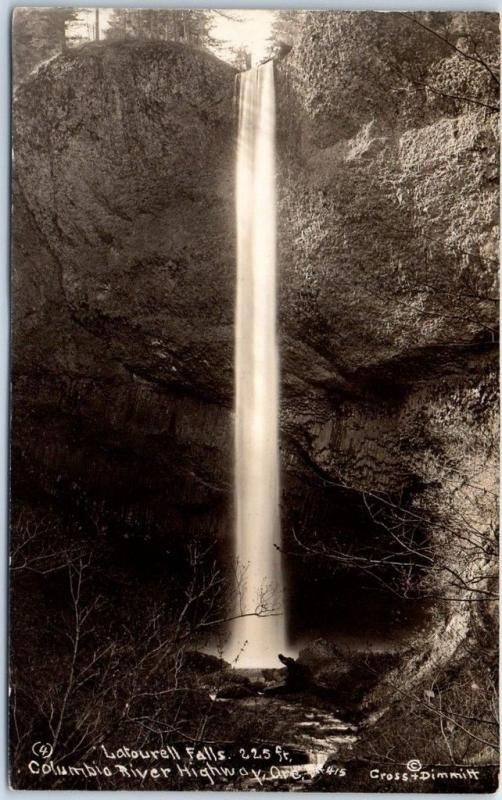 Columbia River Highway, Ore. RPPC Postcard LATOURELL FALLS Cross & Dimmitt Photo