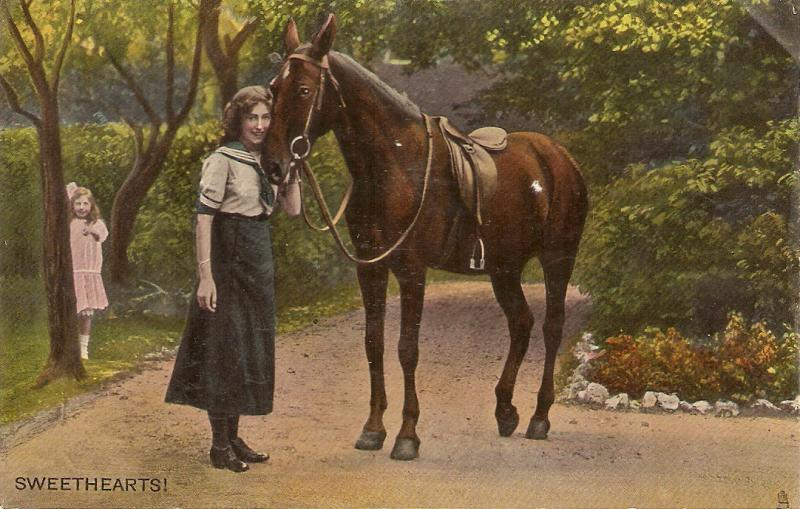 Mother and daughter with horse. Sweet hearts Tuck Rapgolette Grosso PC # 9175