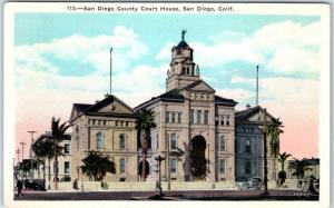 San Diego, California Postcard SD County Court House, Street View Kashower 1920s